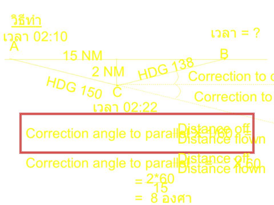 วิธีทำ เวลา = เวลา 02:10. A. B. 15 NM. 2 NM. HDG 138. Correction to converge. HDG 150. C.