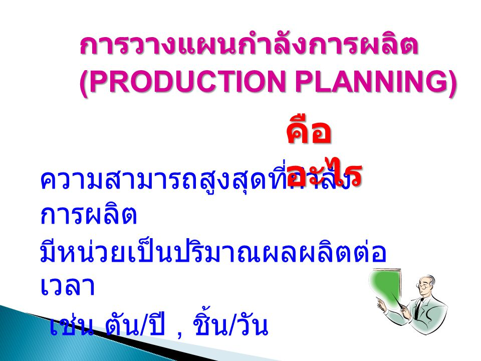 คืออะไร การวางแผนกำลังการผลิต (PRODUCTION PLANNING)
