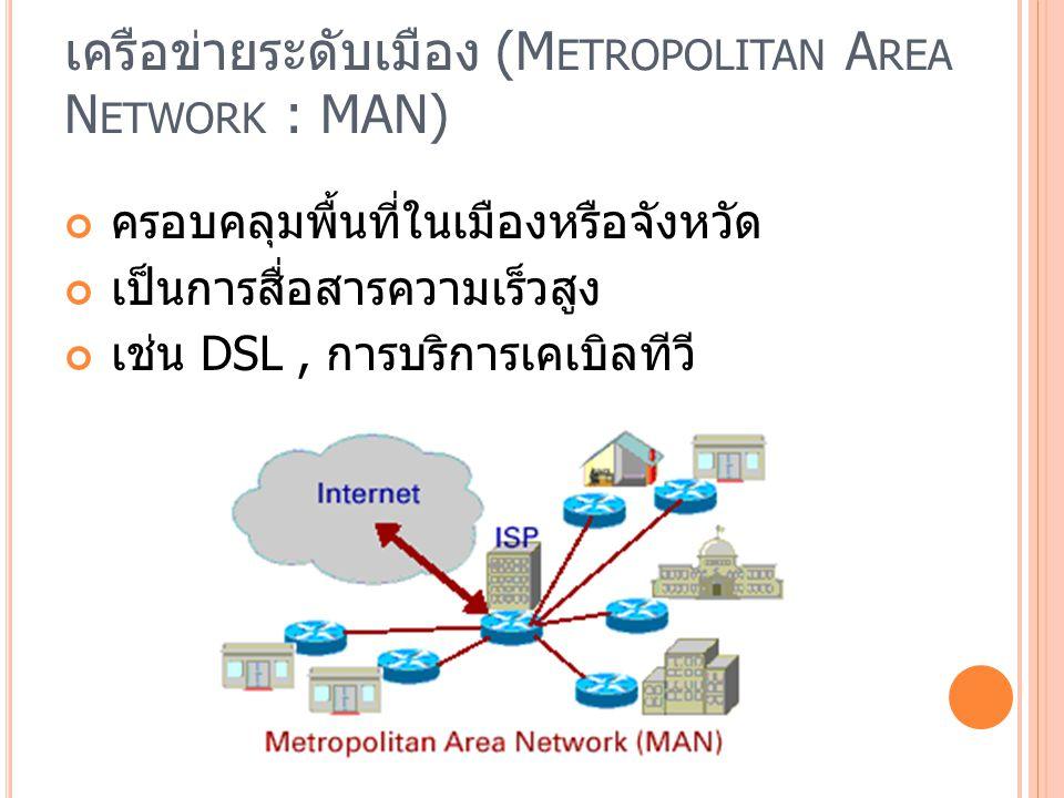 เครือข่ายระดับเมือง (Metropolitan Area Network : MAN)