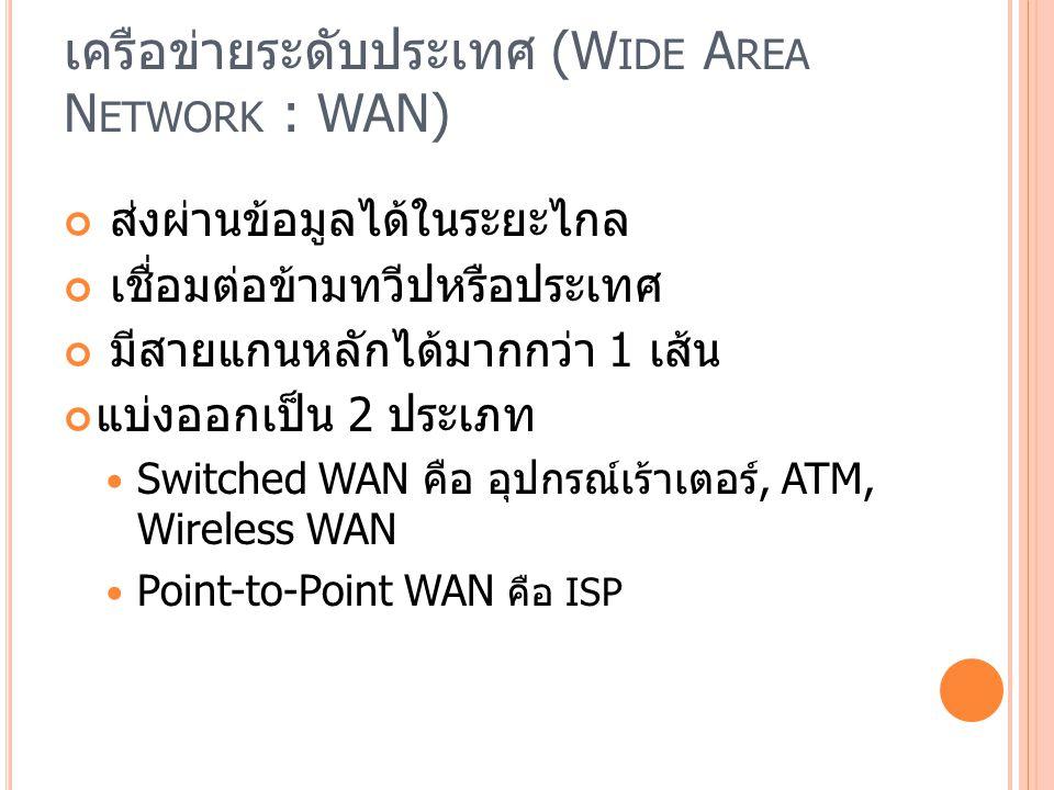 เครือข่ายระดับประเทศ (Wide Area Network : WAN)