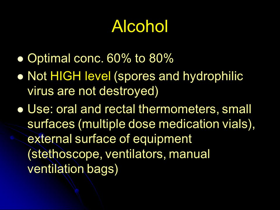Alcohol Optimal conc. 60% to 80%