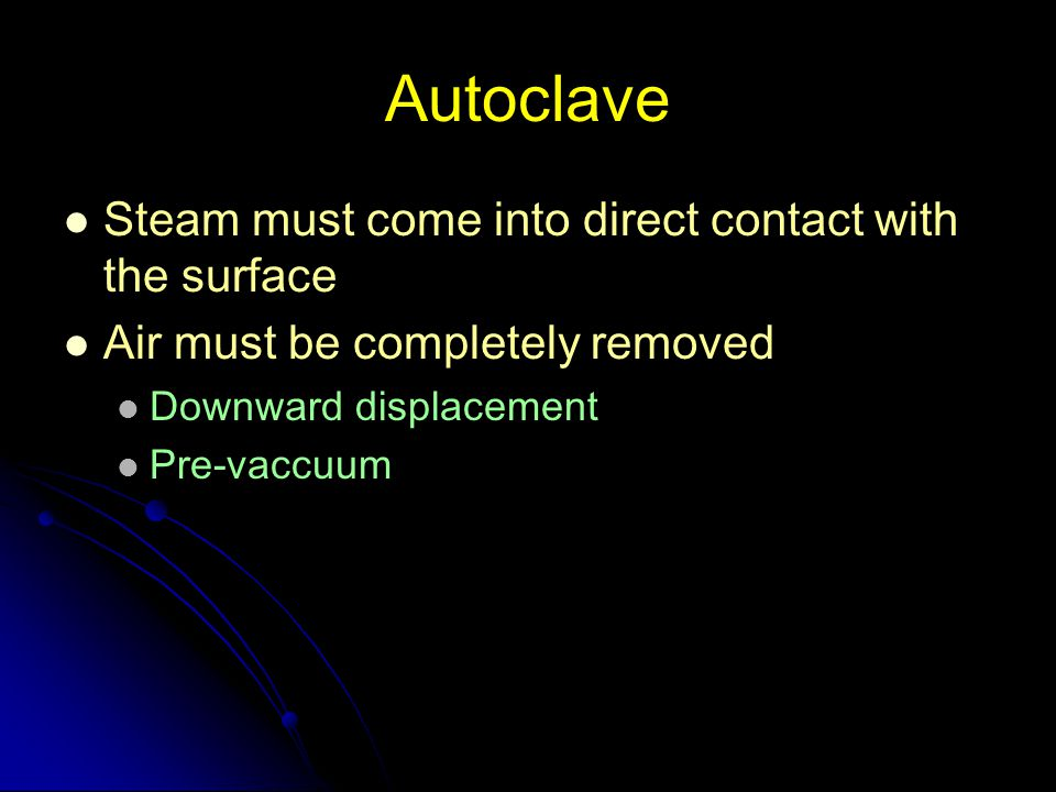 Autoclave Steam must come into direct contact with the surface
