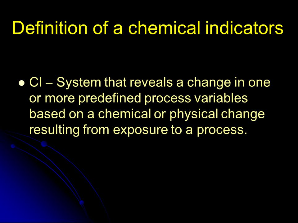 Definition of a chemical indicators
