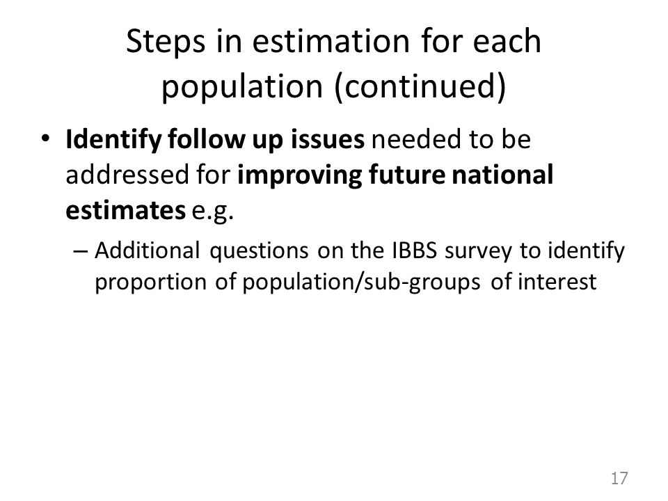 Steps in estimation for each population (continued)