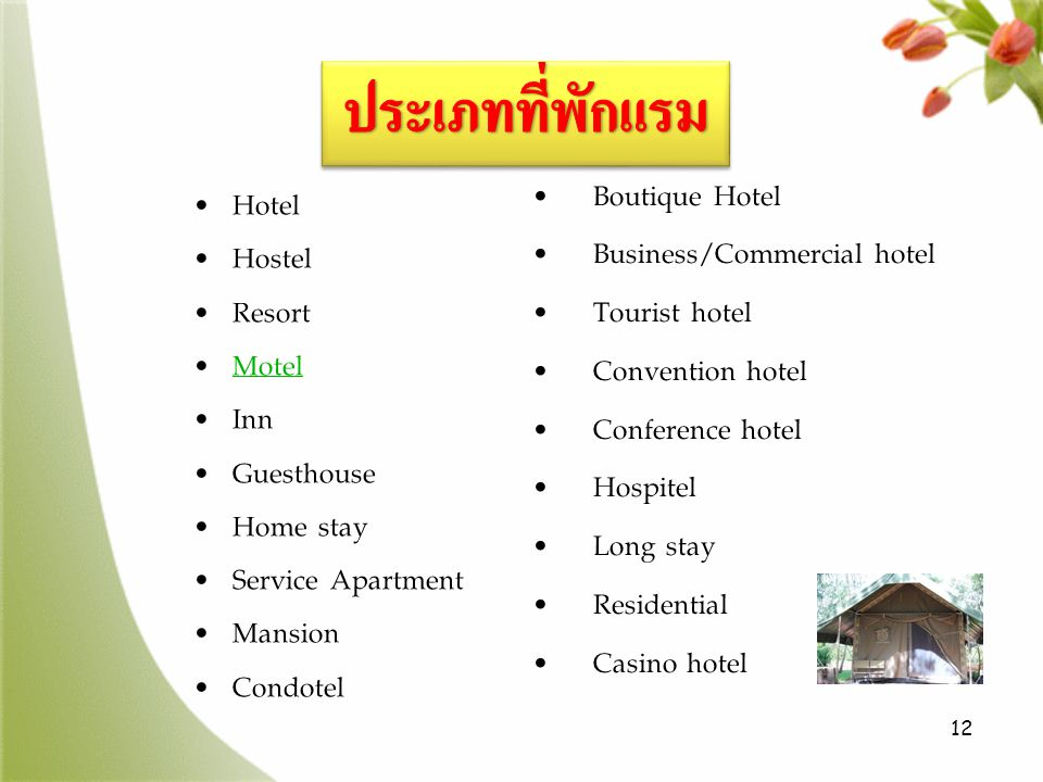 ประเภทที่พักแรม Boutique Hotel Hotel Business/Commercial hotel Hostel