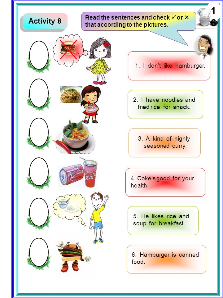 16 Activity 8. Read the sentences and check  or  that according to the pictures. 1. I don't like hamburger.