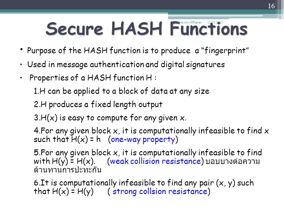 Secure HASH Functions University of Phayao. 08/04/2017. Purpose of the HASH function is to produce a fingerprint