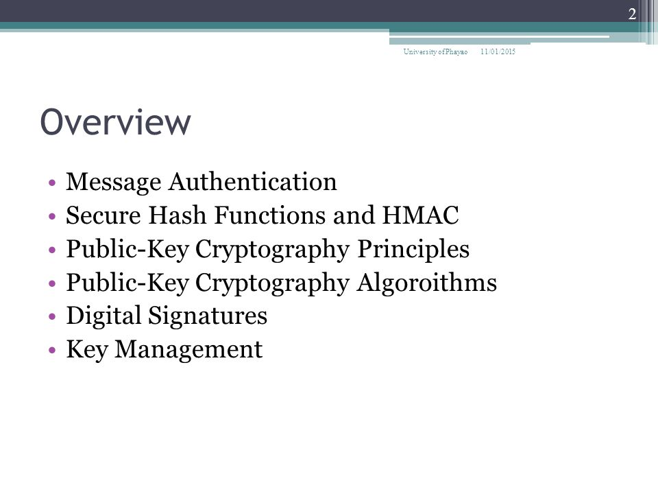 Overview Message Authentication Secure Hash Functions and HMAC