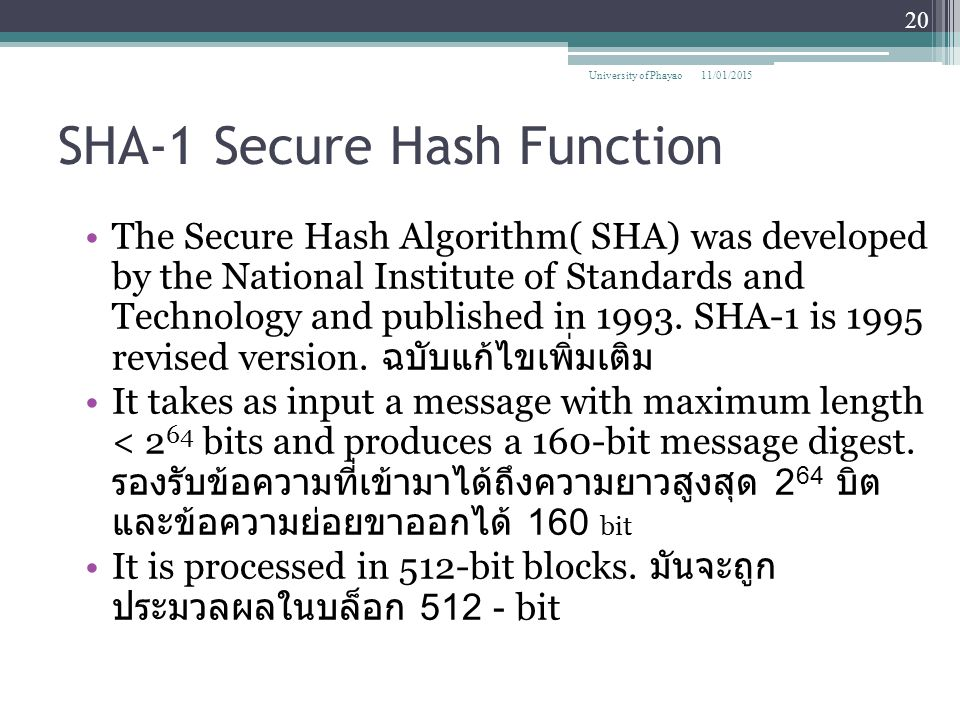 SHA-1 Secure Hash Function