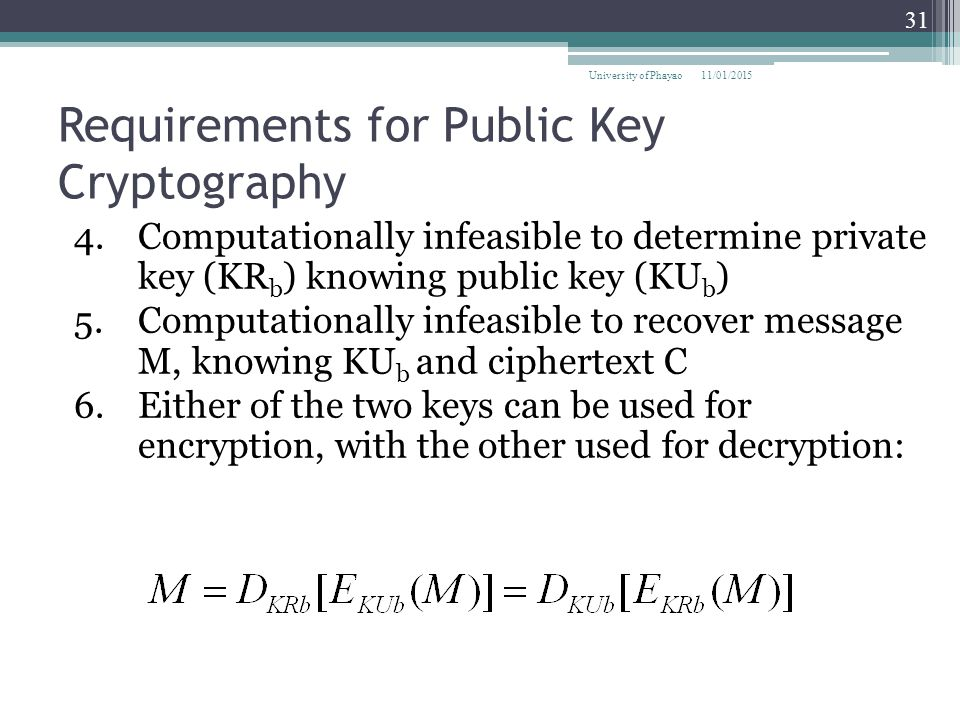 Requirements for Public Key Cryptography