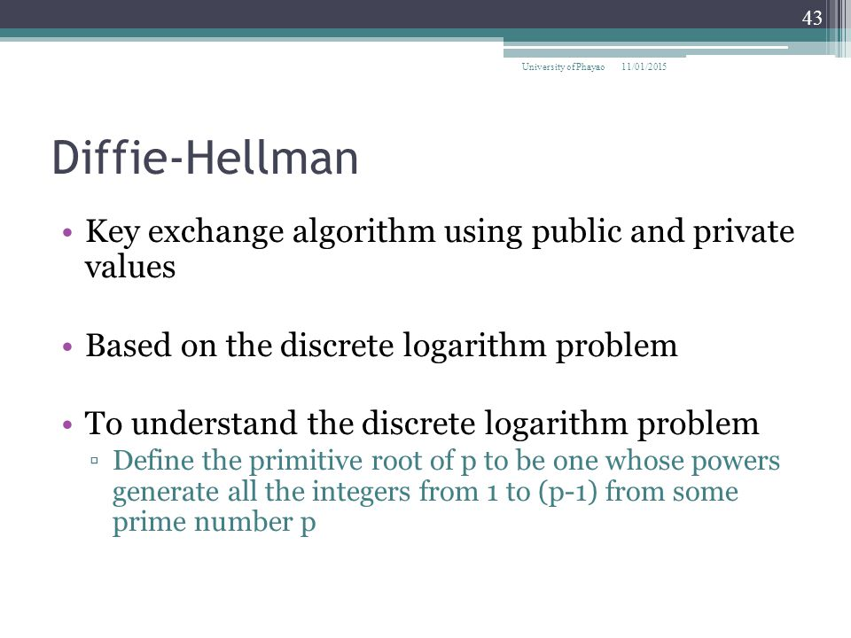 Diffie-Hellman Key exchange algorithm using public and private values