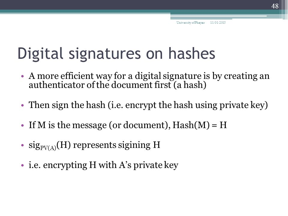 Digital signatures on hashes
