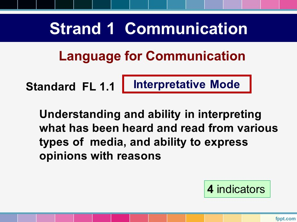 Strand 1 Communication Language for Communication Interpretative Mode
