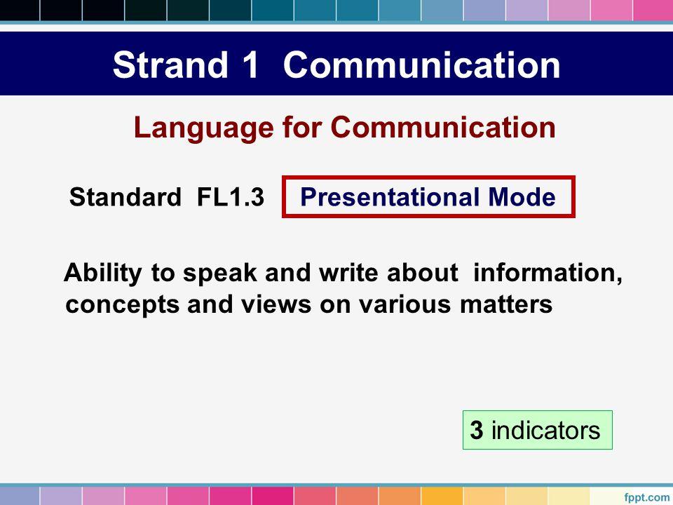 Strand 1 Communication Language for Communication Standard FL1.3