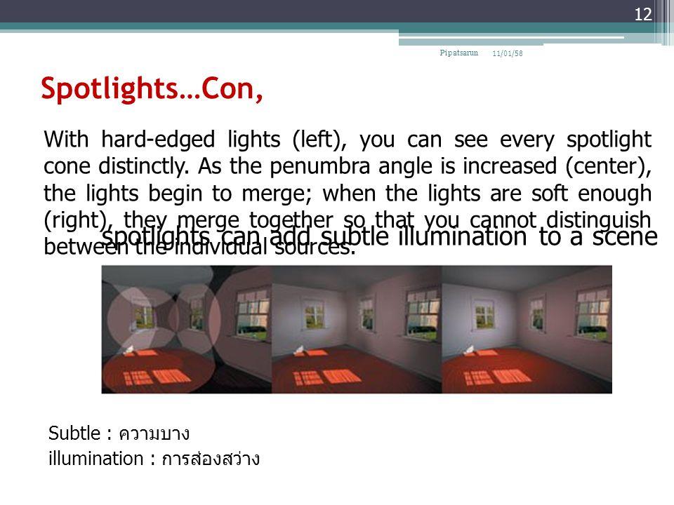 Spotlights…Con, spotlights can add subtle illumination to a scene