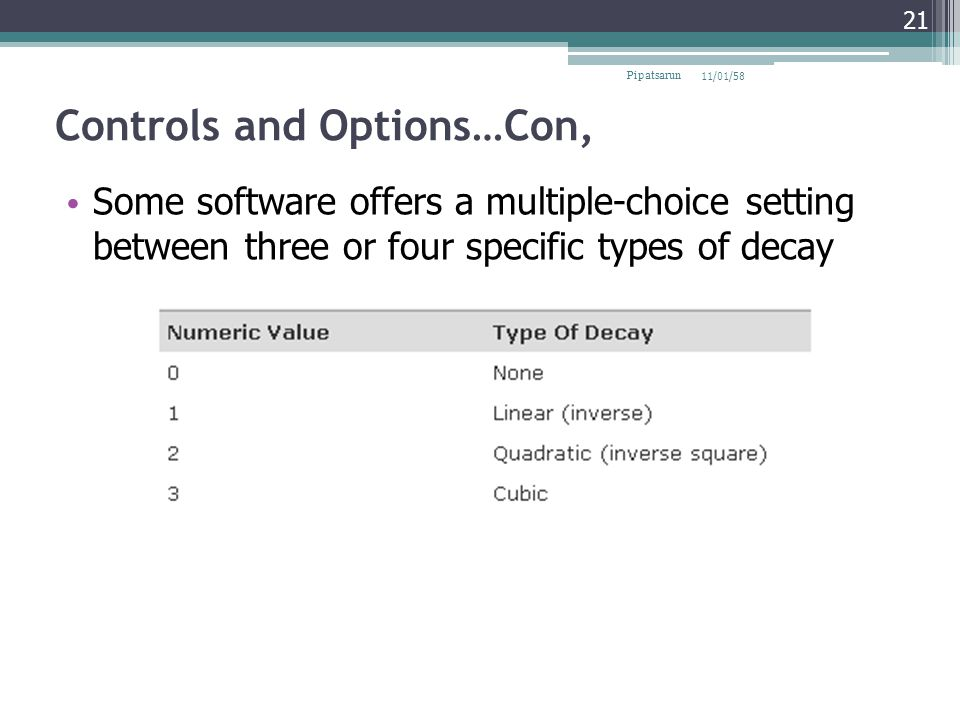 Controls and Options…Con,