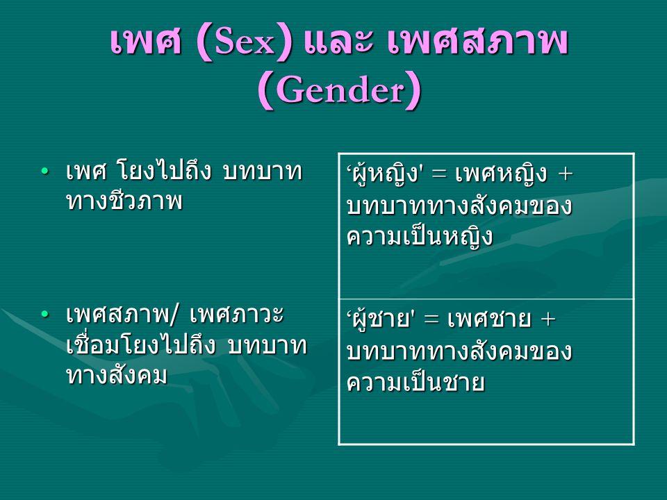 เพศ (Sex) และ เพศสภาพ(Gender)