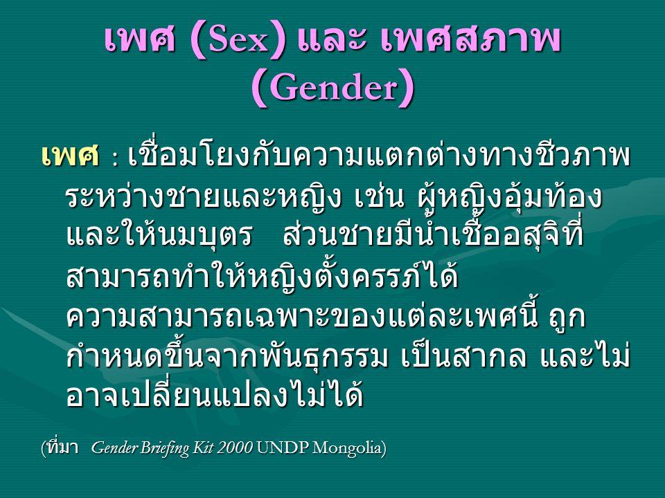 เพศ (Sex) และ เพศสภาพ (Gender)
