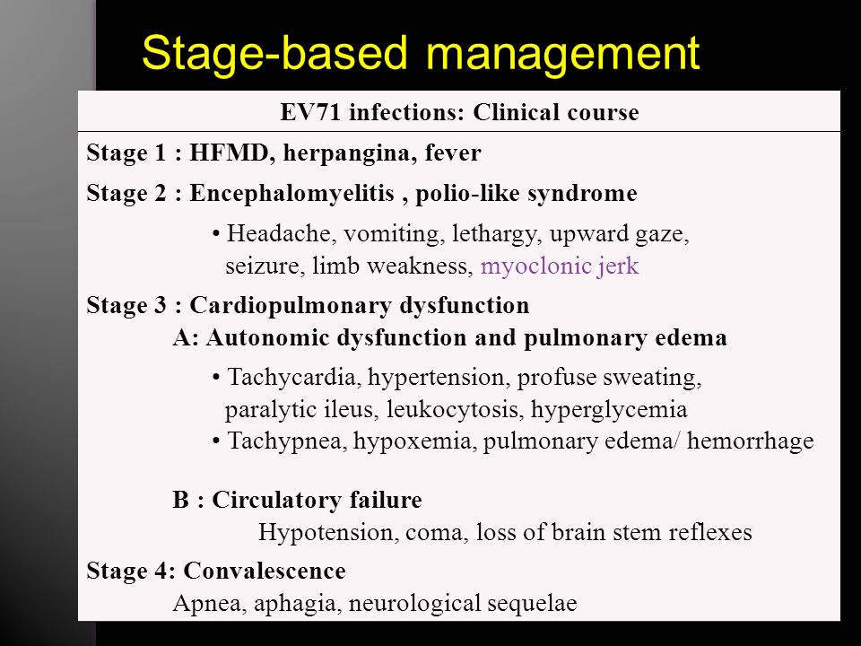 EV71 infections: Clinical course