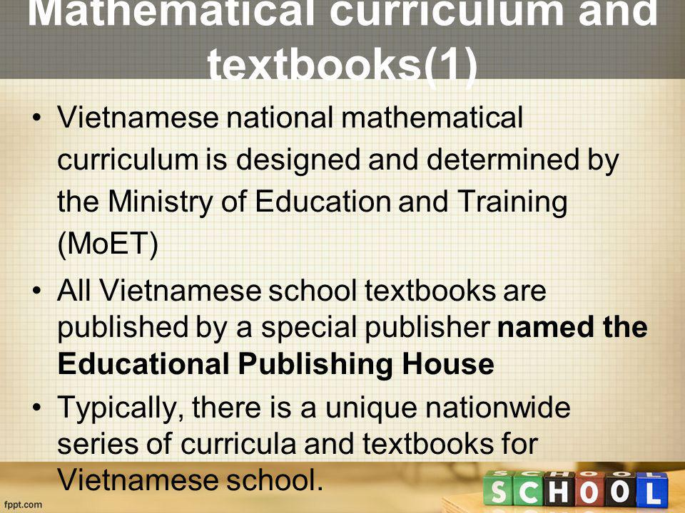 Mathematical curriculum and textbooks(1)
