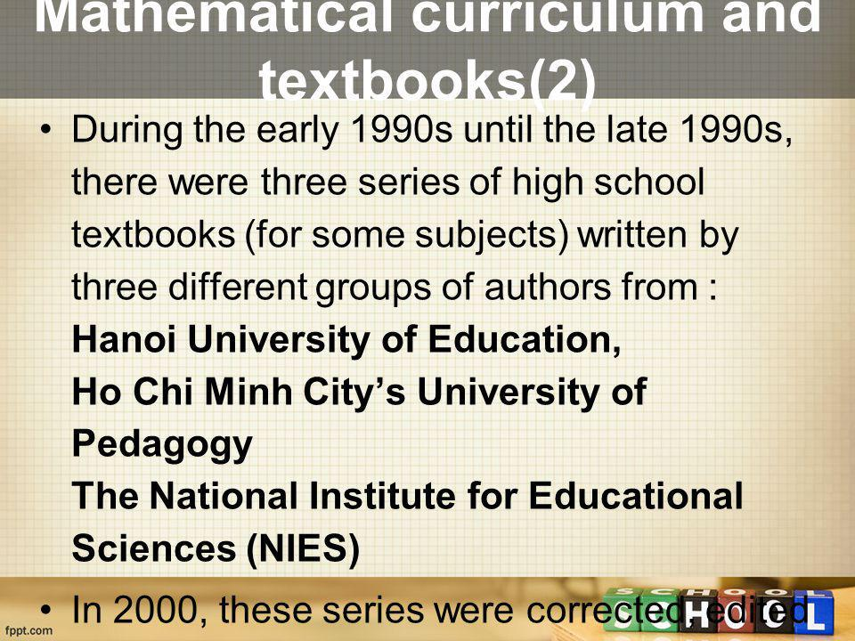 Mathematical curriculum and textbooks(2)