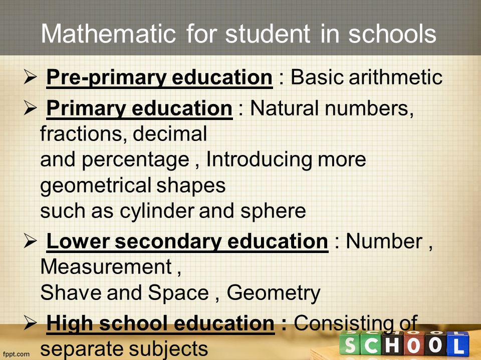 Mathematic for student in schools