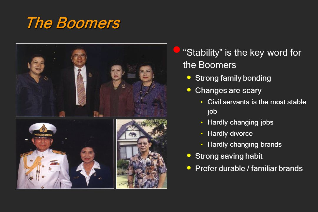 The Boomers Stability is the key word for the Boomers