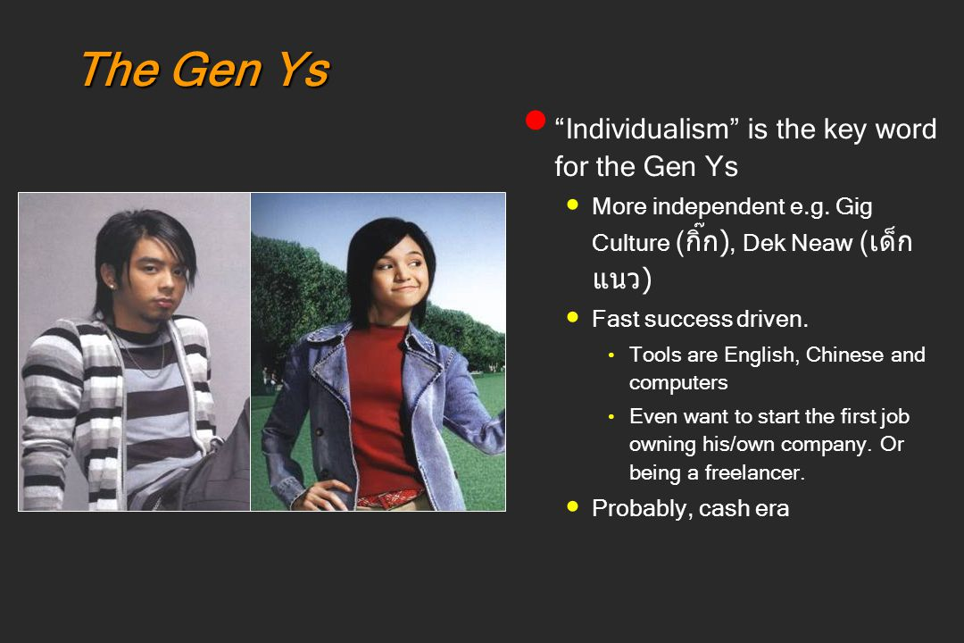 The Gen Ys Individualism is the key word for the Gen Ys