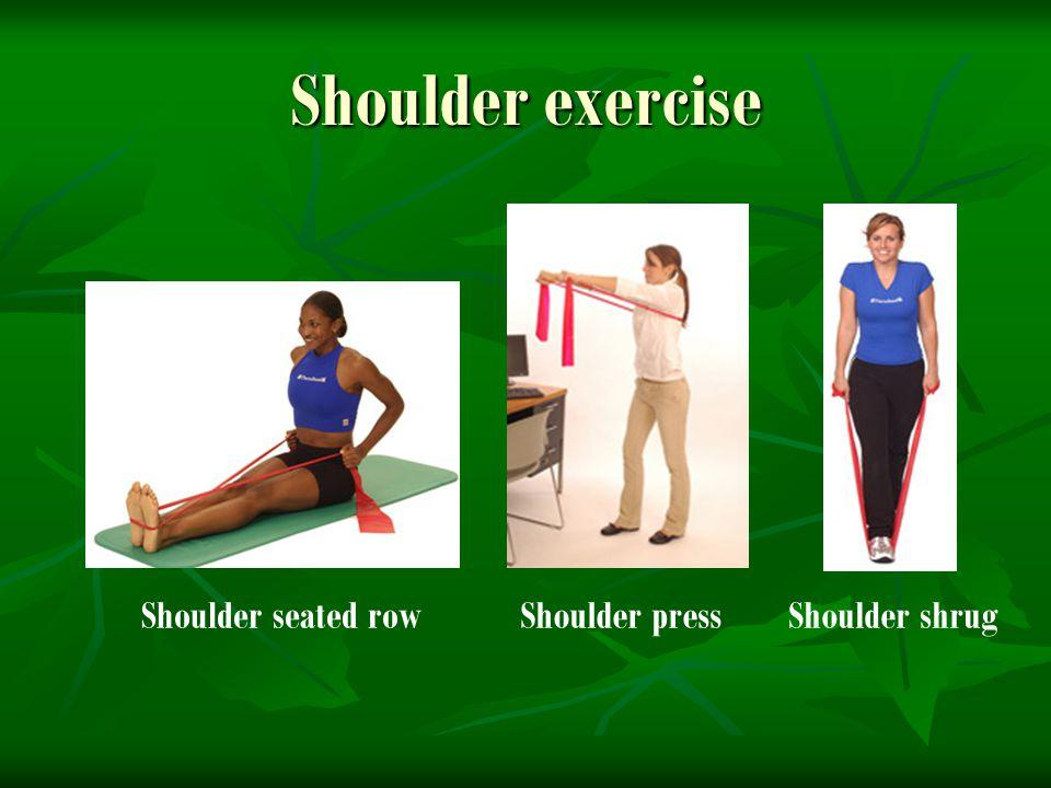 Shoulder exercise Shoulder seated row Shoulder press Shoulder shrug