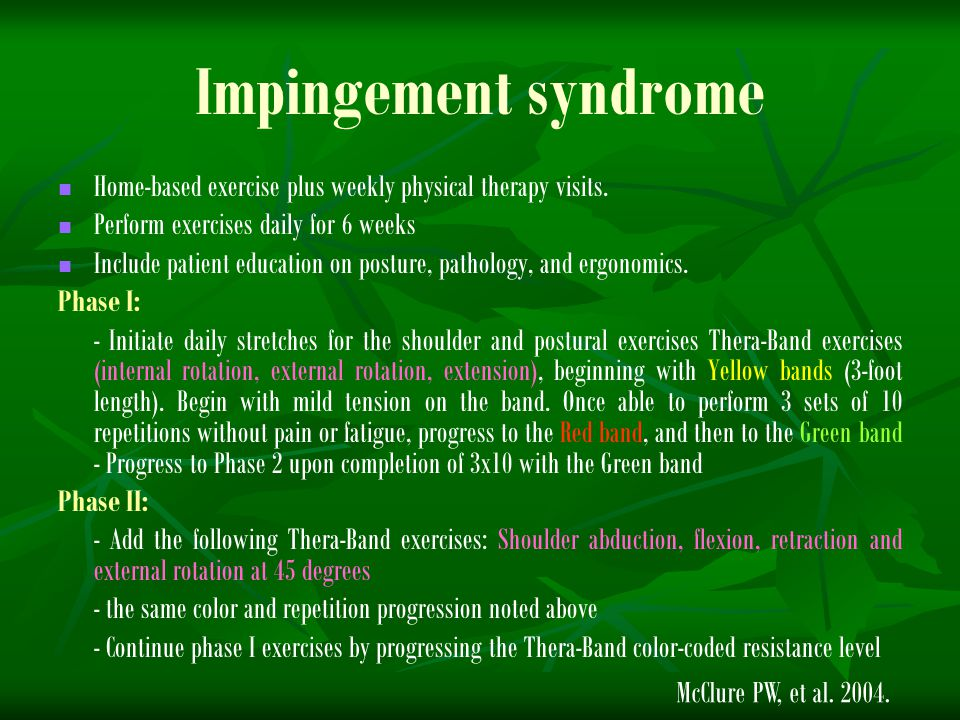 Impingement syndrome Home-based exercise plus weekly physical therapy visits. Perform exercises daily for 6 weeks.