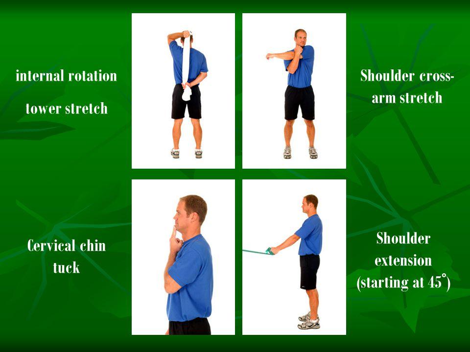 Shoulder cross-arm stretch Shoulder extension (starting at 45°)
