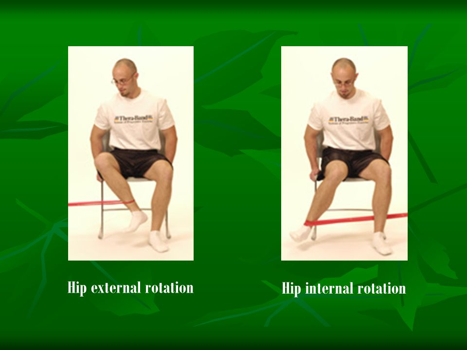 Hip external rotation Hip internal rotation