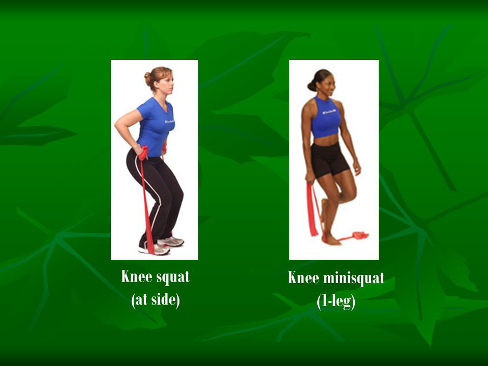 Knee squat (at side) Knee minisquat (1-leg)