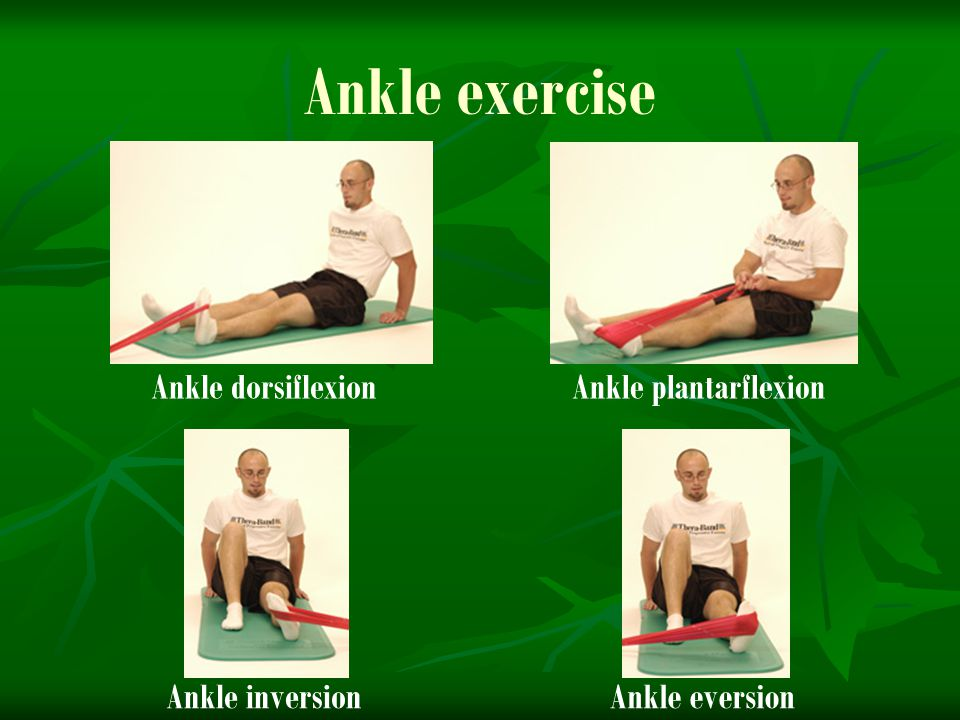 Ankle exercise Ankle dorsiflexion Ankle plantarflexion Ankle inversion