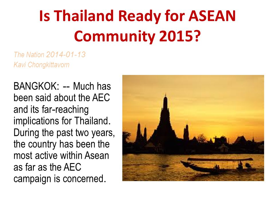 Is Thailand Ready for ASEAN Community 2015