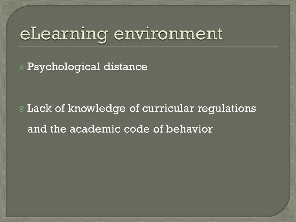 eLearning environment