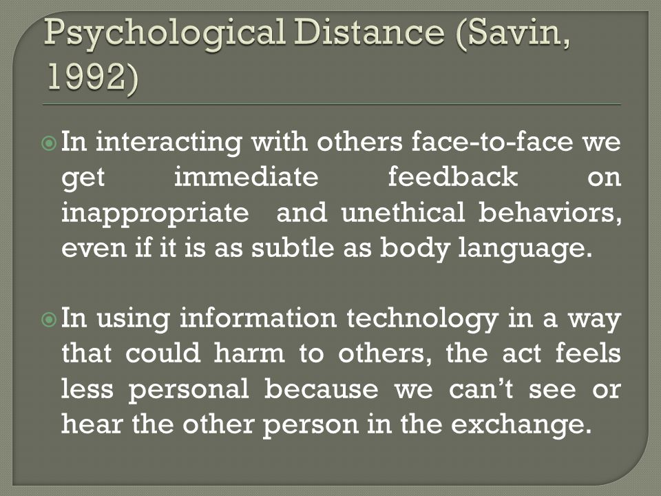Psychological Distance (Savin, 1992)