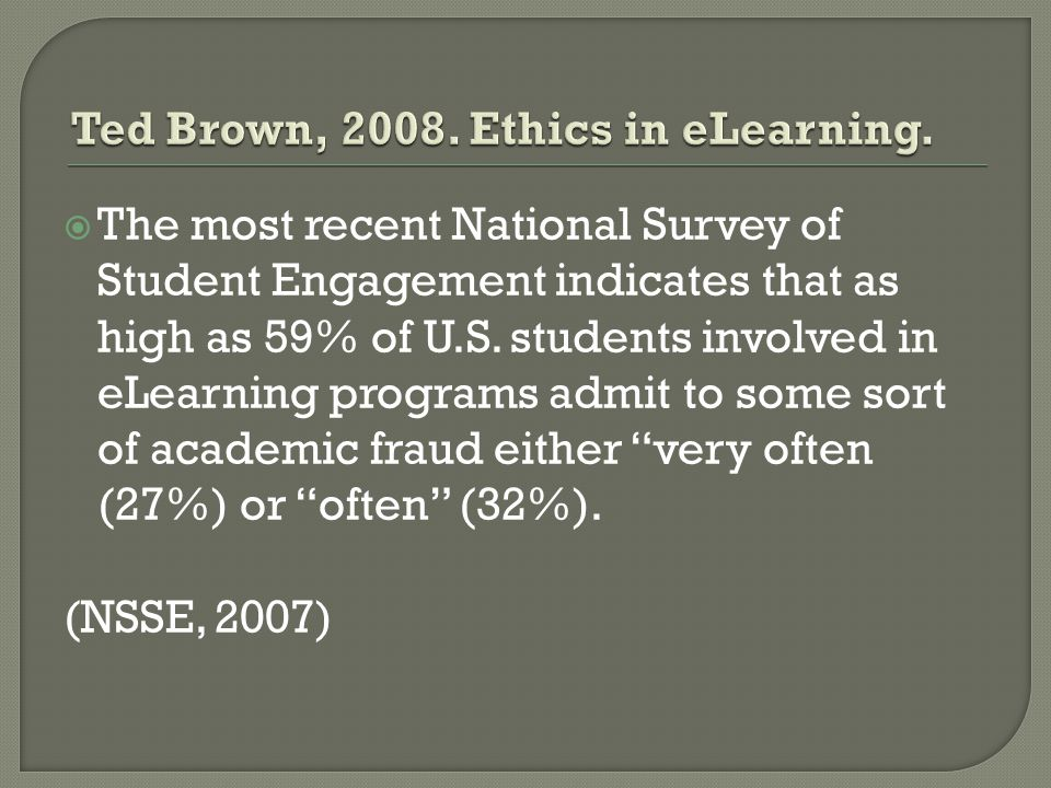 Ted Brown, 2008. Ethics in eLearning.
