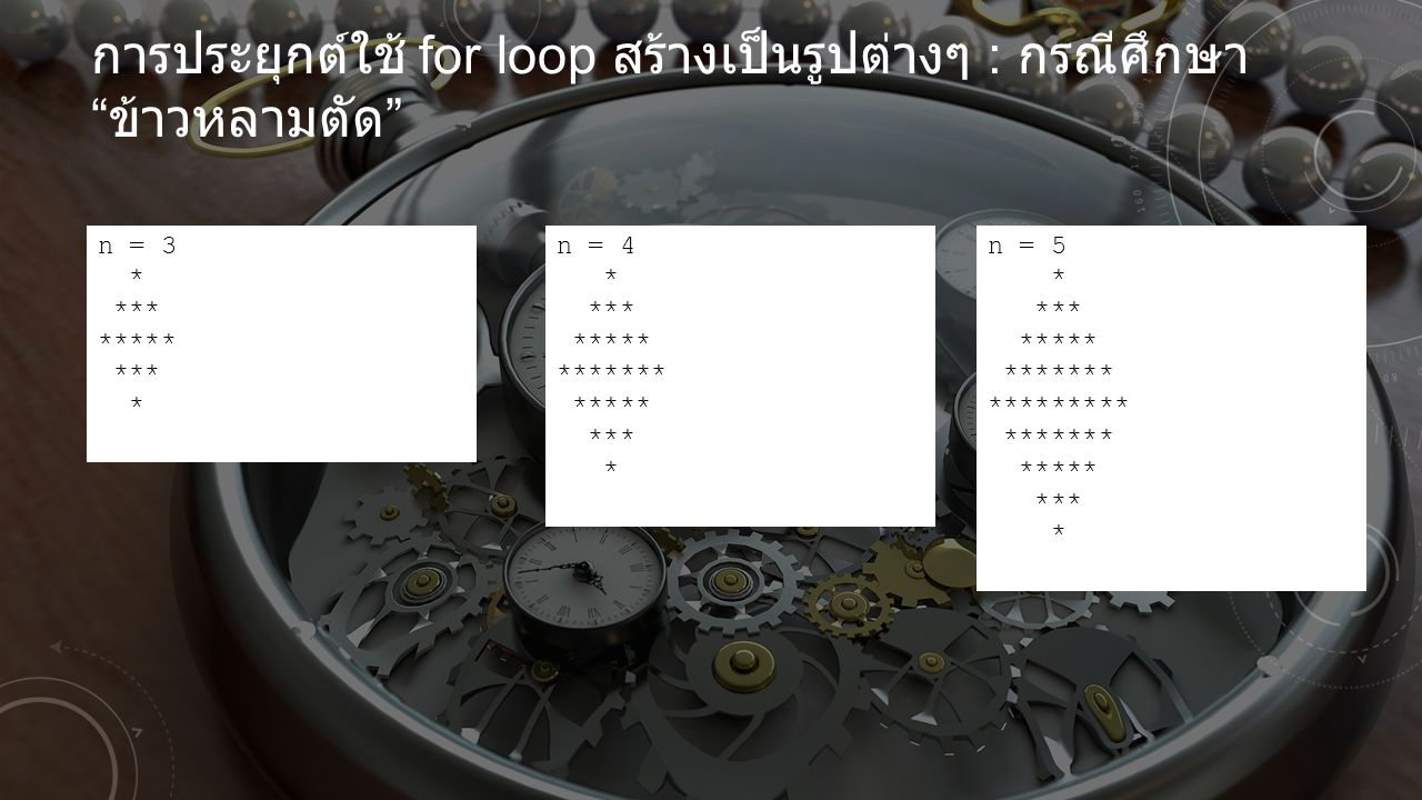 การประยุกต์ใช้ for loop สร้างเป็นรูปต่างๆ : กรณีศึกษา ข้าวหลามตัด