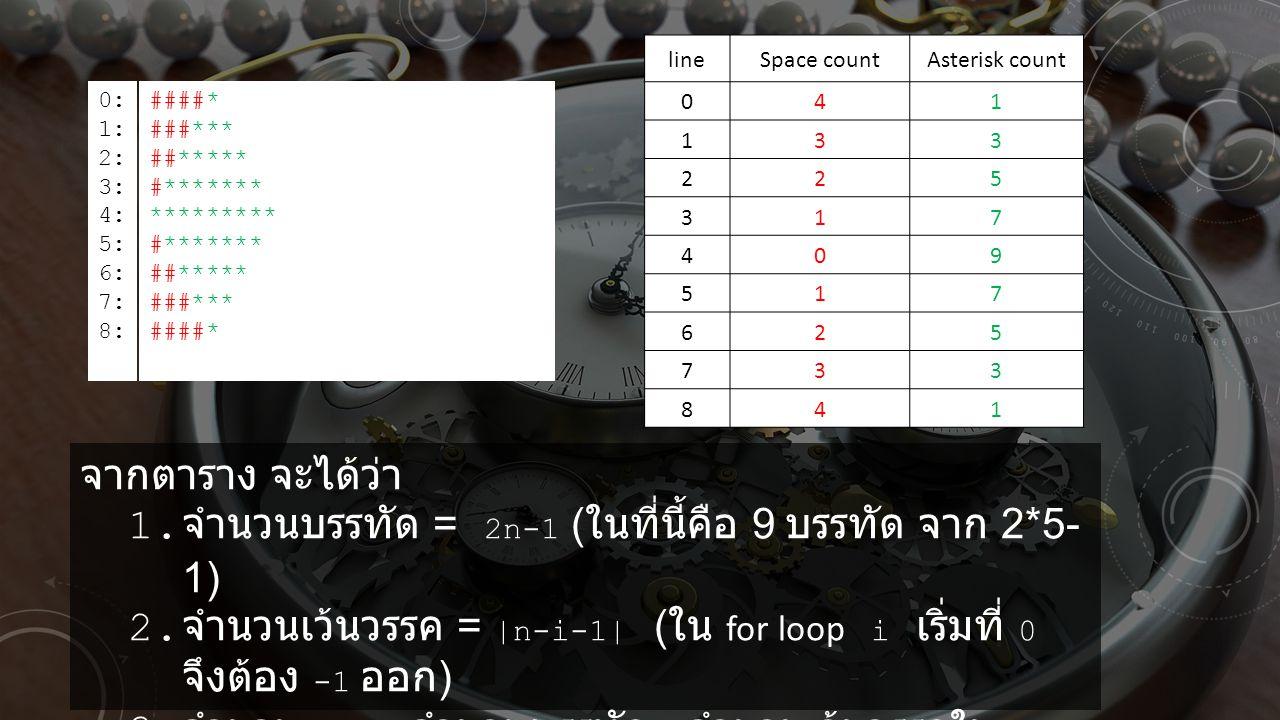 จำนวนบรรทัด = 2n-1 (ในที่นี้คือ 9 บรรทัด จาก 2*5-1)