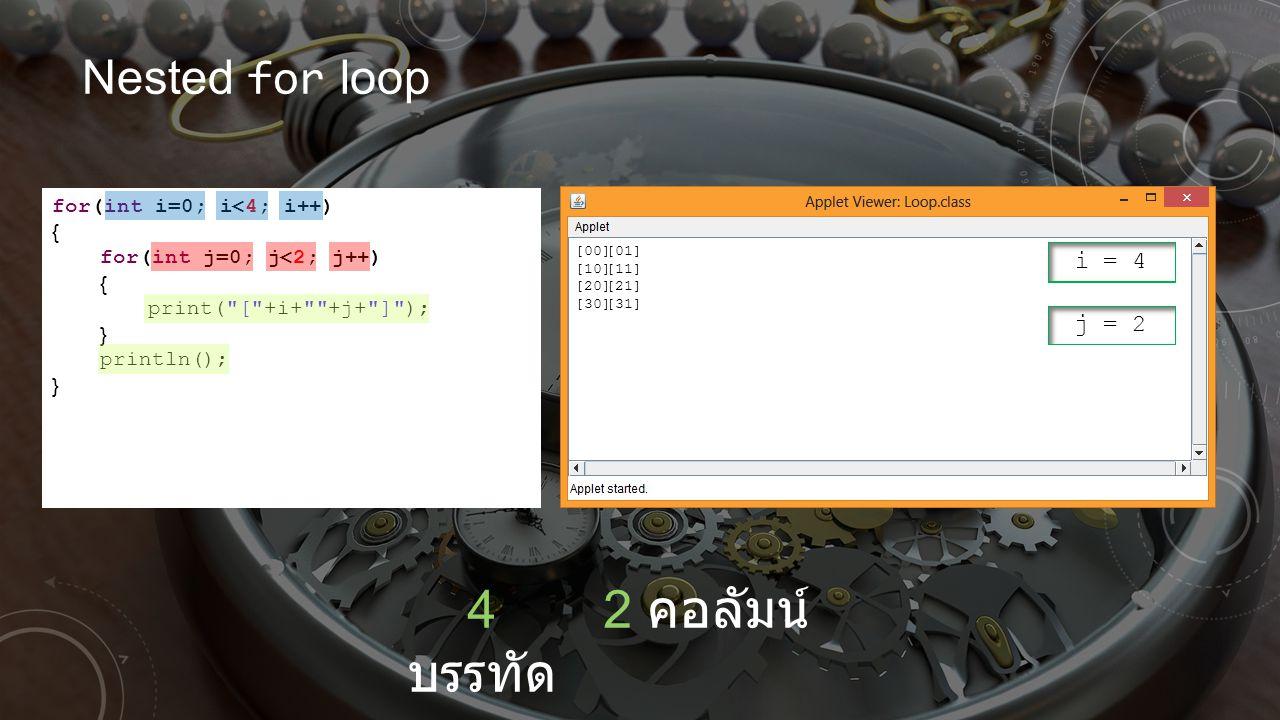 4 บรรทัด 2 คอลัมน์ Nested for loop i = 2 i = 3 i = 4 i = 1 i = 0 j = 1