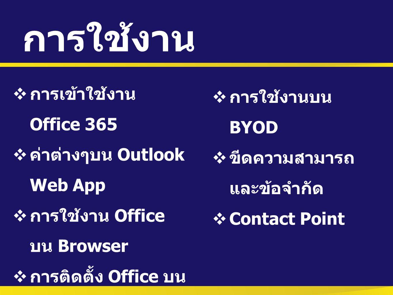 การใช้งาน การเข้าใช้งาน Office 365 การใช้งานบน BYOD