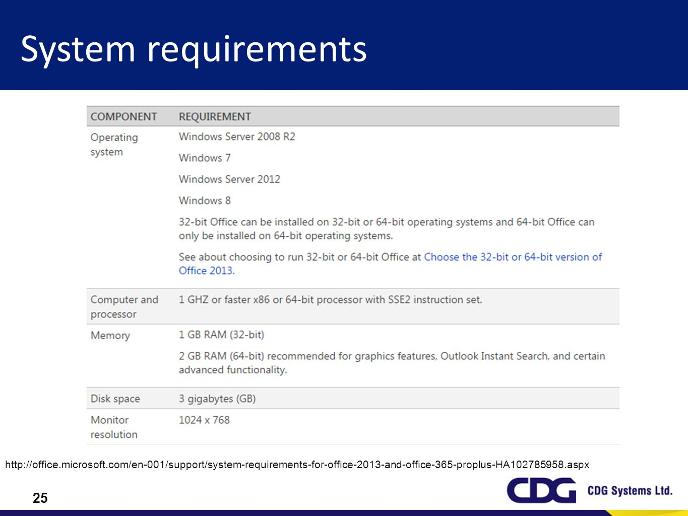 System requirements http://office.microsoft.com/en-001/support/system-requirements-for-office-2013-and-office-365-proplus-HA102785958.aspx.