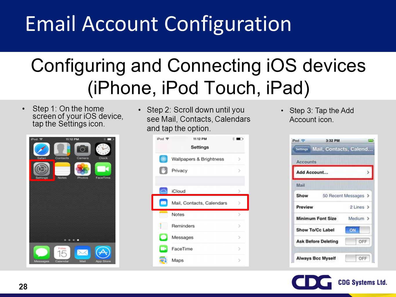 Configuring and Connecting iOS devices (iPhone, iPod Touch, iPad)