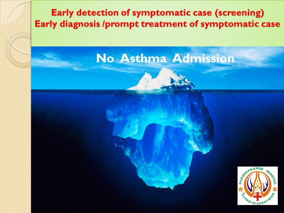 Early detection of symptomatic case (screening) Early diagnosis /prompt treatment of symptomatic case