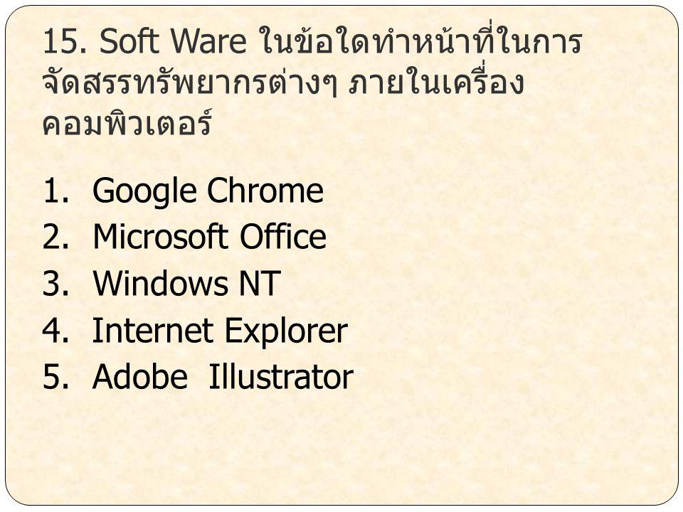 15. Soft Ware ในข้อใดทำหน้าที่ในการจัดสรรทรัพยากรต่างๆ ภายในเครื่องคอมพิวเตอร์