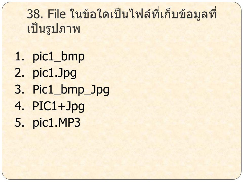 38. File ในข้อใดเป็นไฟล์ที่เก็บข้อมูลที่เป็นรูปภาพ