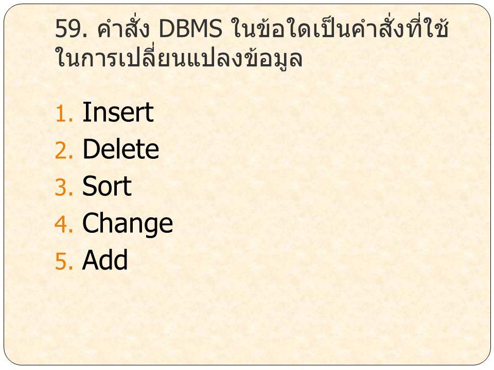 59. คำสั่ง DBMS ในข้อใดเป็นคำสั่งที่ใช้ในการเปลี่ยนแปลงข้อมูล