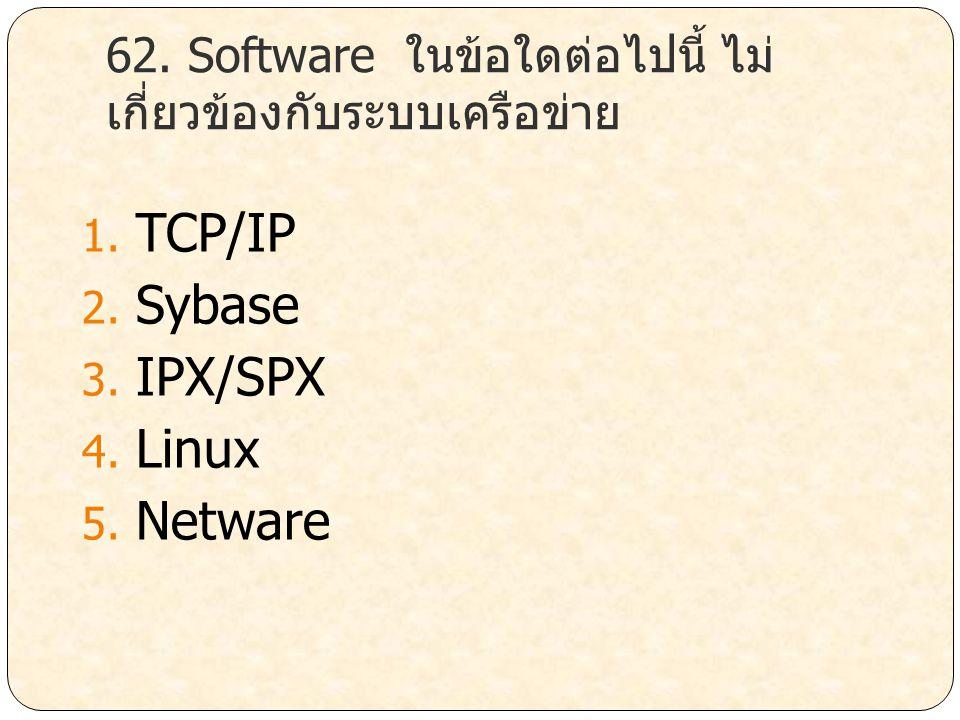 62. Software ในข้อใดต่อไปนี้ ไม่เกี่ยวข้องกับระบบเครือข่าย