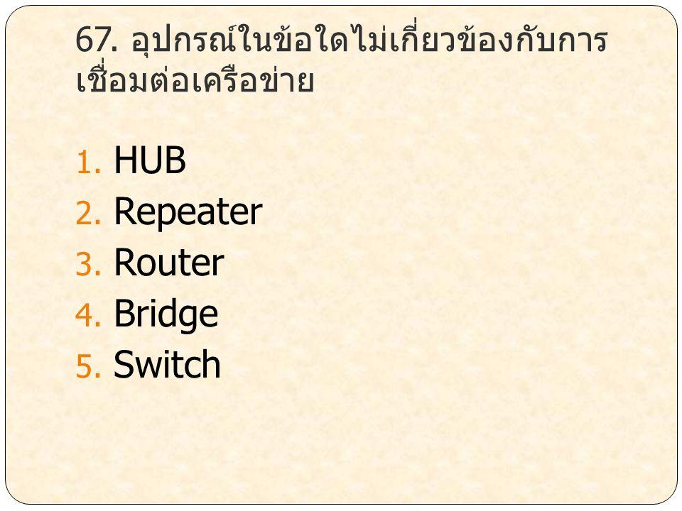 67. อุปกรณ์ในข้อใดไม่เกี่ยวข้องกับการเชื่อมต่อเครือข่าย